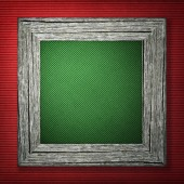 Red background with wooden frame — Stock Photo