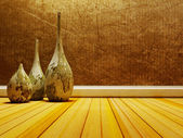 old vases on the wooden floor — Stock Photo