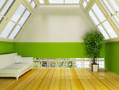 Attic with the windows and the plant — Stock Photo