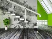 A green plant under the stairs — Stock Photo