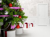 New years tree in the  room — Stock Photo