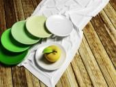 Many plates and an apple — Stockfoto