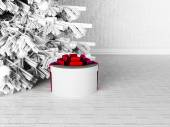 Gift near the Christmas tree — Foto de Stock