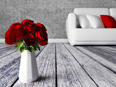 Roses in the vase in a room — Stock Photo