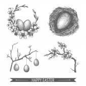 Easter vintage sketch set. — Stock Vector