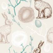 Seamless pattern with Easter hares — Stock Vector