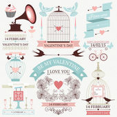 Vintage valentine's day collection — Stock Vector