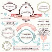 Vintage valentine's day collection — Stockvektor
