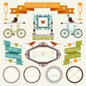 Colección vintage de día de San Valentín — Vector de stock