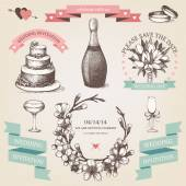 Vintage wedding collection. — Stock Vector