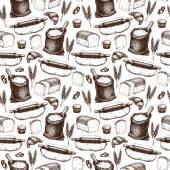 Vintage bakery sketch background — Stock Vector