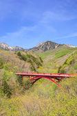Mountain and Red Bridge — Stock Photo