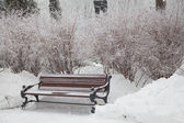 Snow-covered bench in city park — Stock Photo
