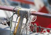 Ropes on a sailing vessel closeup — Stock Photo