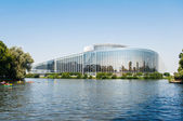 European Parliament in Strasbourg with canoers — Stockfoto