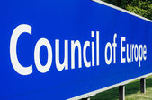 Perspective viiw of Council of Europe main signage — Stock Photo