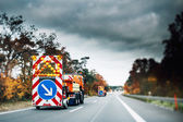 Highway emergency securty trucks — Stock Photo