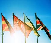 Macedonia, Turkey, Ukraine and United Kingdom flags — Foto Stock