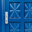 Closed blue door with pattern and aluminium handle — Stock Photo #68482703