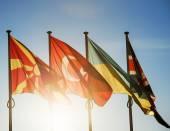 Macedonia, Turkey, Ukraine and United Kingdom flags — Stock Photo