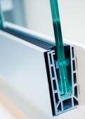 Cross section of a PVC window — Stock Photo