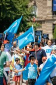 Uyghur human rights activists protest — Stock Photo
