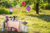 Table with tea crockery in garden — Stok fotoğraf