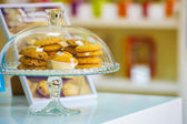 Cookies under glass cover — Stock Photo