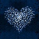 Pixel Heart on digital screen — Stock Vector #53391371