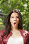 Open mouth woman — Stock Photo