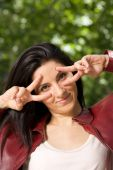 Gesture fingers eyes — Stock Photo