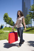 Jeans woman shopping bags — Stock Photo