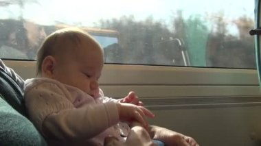 Little baby on train with mom — Stock Video