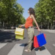 Pregnant at crosswalk with shopping bags — Stock Photo #64806737
