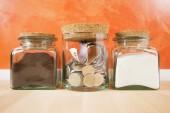 Money in crystal jar — Stock Photo