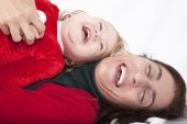Baby and mother Christmas happiness — Stock Photo