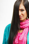 Hair care beauty woman with long hair. Leather jacket and pink scarf. Isolated on white — Stock Photo