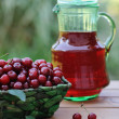 Cold refreshing drink from cherries in a pitcher and ripe berries in basket on wooden table in the garden — Stock Photo #67578077