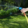 Woman's hand with hose sprinkle — Stock Photo #71128577