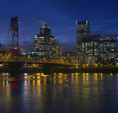 Portland Oregon downtown lights and fog. — Stock Photo