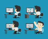 Businessmen at computer set — 图库矢量图片