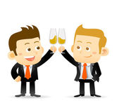Two businessmen clink glasses — Stock Vector