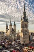 The Five Towers of Halle (Saale) — Stock Photo