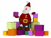 3D Santa Claus on a stack of colored boxes isolated on white — Stock Photo