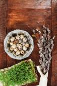 Easter composition of cress, catkins and eggs on wooden table — Stock Photo