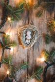 Baby Jesus figurine on a hay decorated with lights and pine twig — Stock Photo