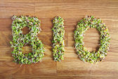 Bio word made of organic sprouts — Stock Photo