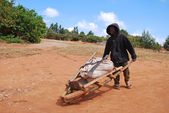 An African child to work with his wheelbarrow — Stock Photo