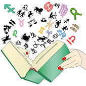 The book of the predictions of the zodiac — Stock Vector