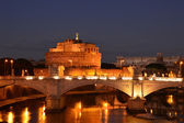 Night landscape with Castel Sant'Angelo in Rome - Italy — Stok fotoğraf